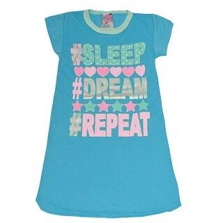 "Sweet n Sassy Girls Blue ""Sleep Dream Repeat"" Heart Print Nightgown"