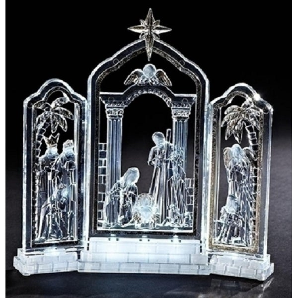 """10"""" Gold Leafed LED Lighted Religious Christmas Nativity Triptych Decoration"""