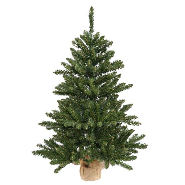 "3' x 20"" Anoka Pine Artificial Christmas Tree in Burlap Base - Unlit - green"