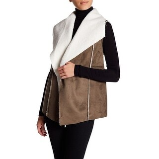 SUSINA Faux Shearling & Faux Suede Vest, Olive Tamac-Ivory, Small