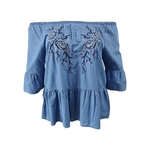 Vintage America Women's Floral-Embroidered Off the Shoulder Top (L, Sky Wash) - Sky Wash - L