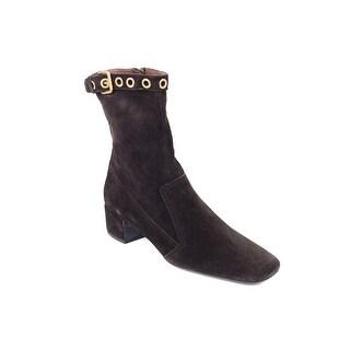 Prada Car Shoe Womens Dark Brown Suede Buckle Ankle Boots