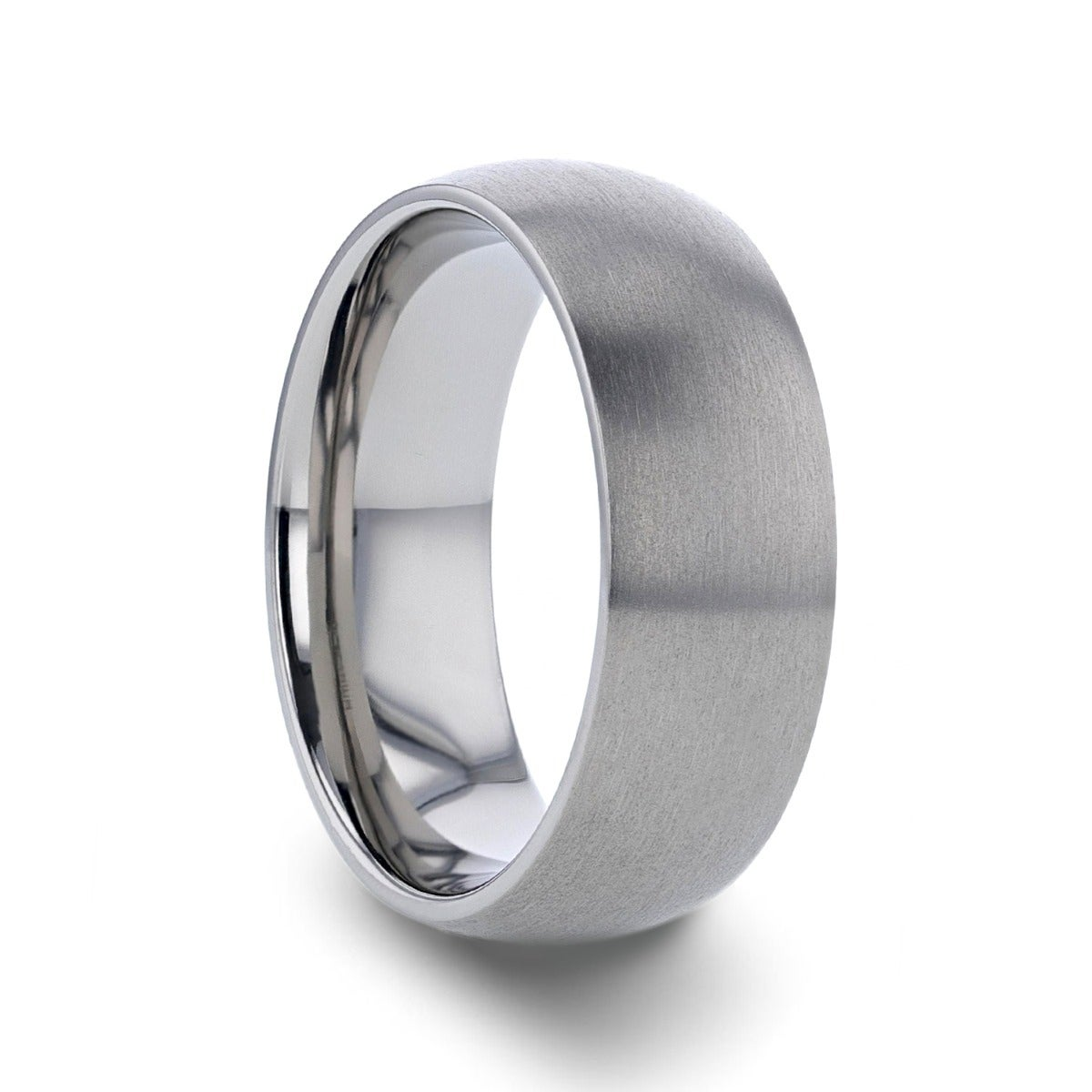 It is a photo of Thorsten Eris Titanium Rings for Men Lightweight Titanium Comfort Fit Titanium Brushed Finish Domed Wedding Band - 42 mm