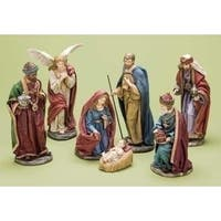 7-Piece Traditional Religious Christmas Nativity Figure Set - RED