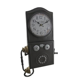 Antique Brown Old Town Vintage Rotary Phone Wall Clock