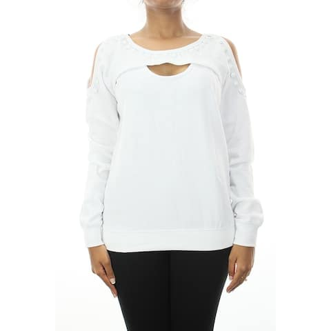 Guess White Long-Sleeve Studded Cutout Crop Sweater S