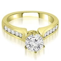 0.80 cttw. 14K Yellow Gold Channel Set Round Cut Diamond Engagement Ring