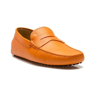 Tod's Men's Leather Moccasins New Gommini 122 Uomo Loafer Shoes Orange