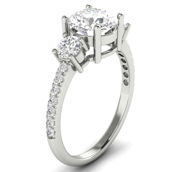 1.50 CT Three-Stone Round Cut Diamond Ring 1.00 CT Center in 14KT. Opens flyout.