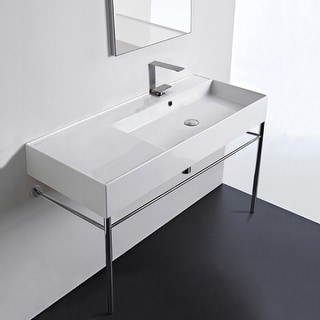 "Nameeks Scarabeo 5120-CON  Scarabeo Teorema 2.0 40"" Rectangular Ceramic Console Bathroom Sink with Overflow"