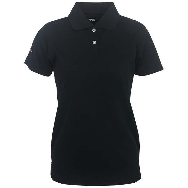 Ping Women's Black Small Performance 100% Polyester Short Sleeve Polo Golf Shirt
