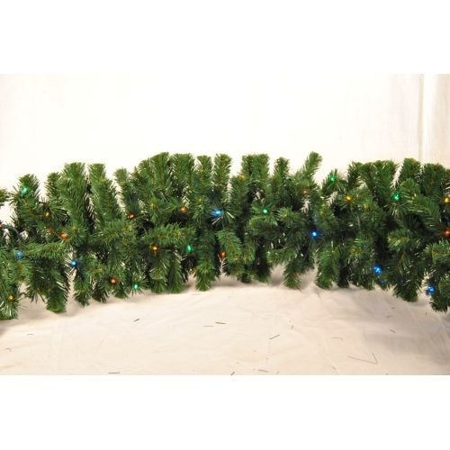Christmas at Winterland WL-GARSQ-09-L5M 9 Foot Pre-Lit Multicolor LED Sequoia Garland