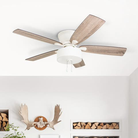 The Gray Barn Theobalds 52-inch Coastal Indoor LED Ceiling Fan with Pull Chains 5 Reversible Blades - 52