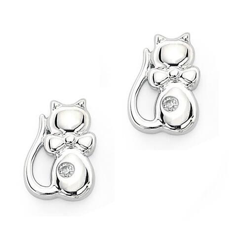 Little Diva Diamonds Girl's 925 Sterling Silver .02ct TDW Diamond Kitten Stud Earrings