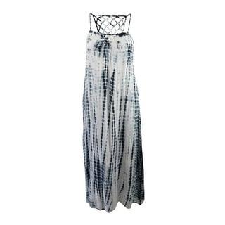 Raviya Women's Tie-Dyed Lattice-Back Maxi Dress Cover-Up - Black