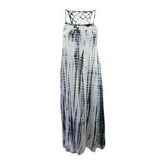 Raviya Women's Tie-Dyed Lattice-Back Maxi Dress Cover-Up - Black