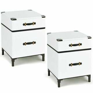 Gymax Set of 2 2-Drawer Coffee End Table NightStand Sofa Side Square Storage Organizer