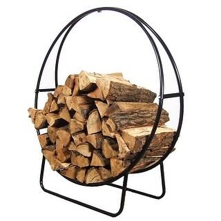 Sunnydaze Firewood Log Hoop Black Steel Easy Access Storage - Multiple Sizes