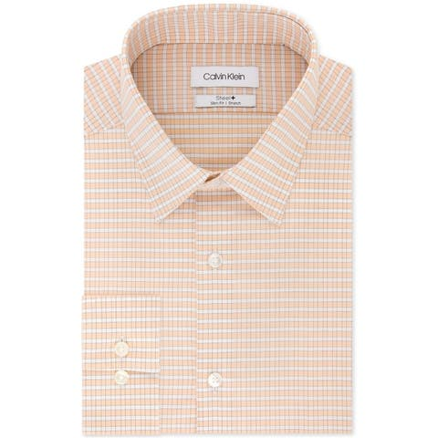 Calvin Klein Mens Check Button Up Dress Shirt