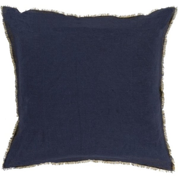 """22"""" Midnight Blue and Canary Yellow Eyelash Linen Throw Pillow"""