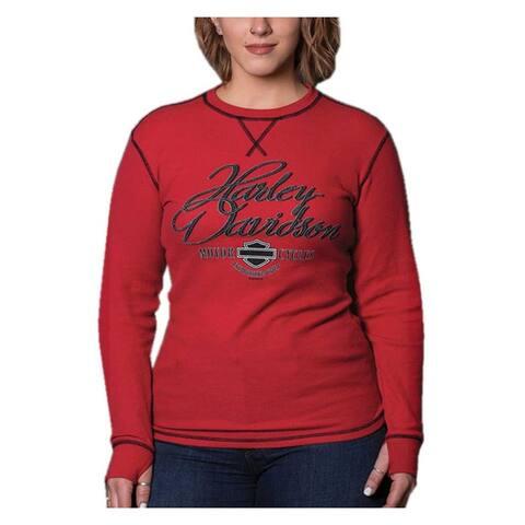 Harley-Davidson Women's Rhythm Long Sleeve Thermal Tee w/ Thumbholes - Red