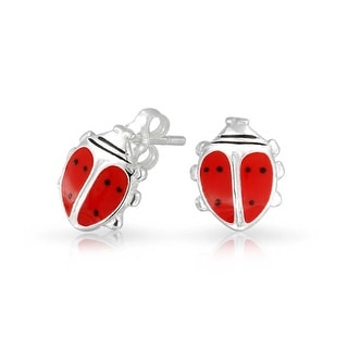 Bling Jewelry Childrens Sterling Silver Red Enamel Ladybug Earrings 9mm