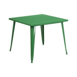 Offex 35.5'' Square Green Metal Indoor-Outdoor Table