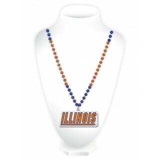 Illinois Fighting Illini Mardi Gras Beads with Medallion