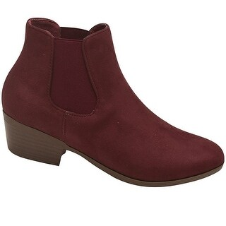 Bella Marie Adult Wine Side Elasticated Insert Trendy Ankle Boots