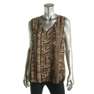 NY Collection Womens Printed Sleeveless Blouse