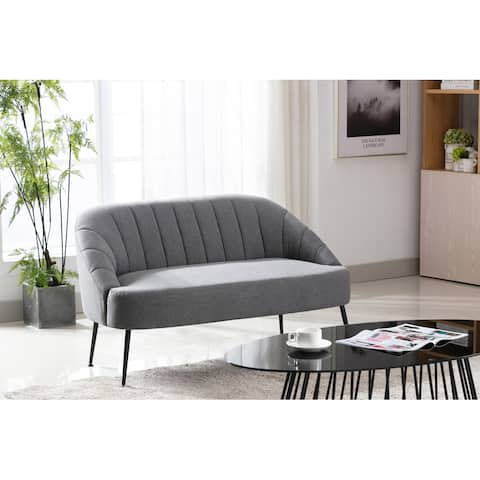 Porthos Home Myla Love Seat Sectional Couch Sofa, Woven Fabric, Metal Legs