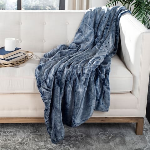 SAFAVIEH Skyler Plush Blue/ White 50 x 60-inch Throw Blanket