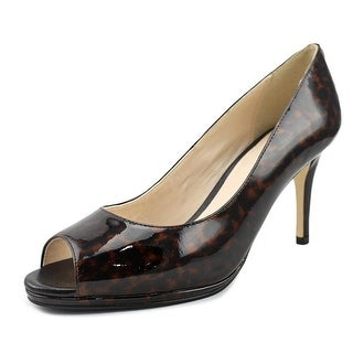 Cole Haan Davis OT. Pump.75 Women C Peep-Toe Patent Leather Brown Heels