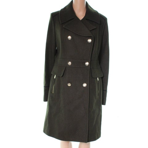 Vince Camut Green Double Breasted Military Women Large L Peacoat