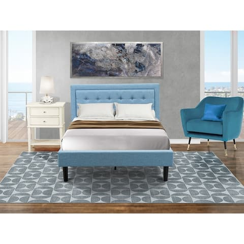 Platform Full Size Bedroom Set with Mid Century Bed and a Bedroom Nightstand - Denim Blue Linen Fabric