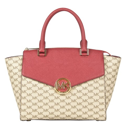 Michael Kors Large Hudson Satchel Handbag in Natural/ Cherry