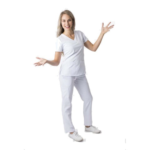 DSF Women's Four Stretch Mock Wrap Scrub Set Top Cargo Pants