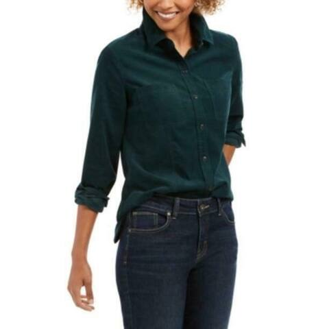 Charter Club Women's Solid Corduroy Shirt Dark Green Size Extra Large - X-Large