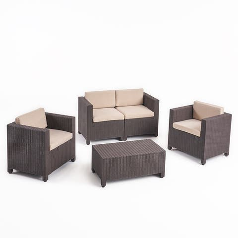 Waverly Outdoor 4-seater All-weather Chat Set with Cushions by Christopher Knight Home