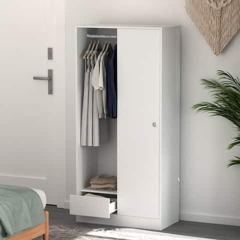 "Kerrogee Sliding Door Wardrobe Armoire with Drawer & Hanging Rod - 31.4""L x 16""W x 67""H"