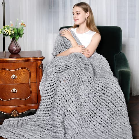 Chunky Knit Blanket Handwoven Throw Bed Sofa Super Warm Home Decor