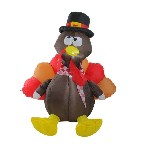 6' Inflatable Lighted Thanksgiving Turkey Outdoor Decoration - N/A