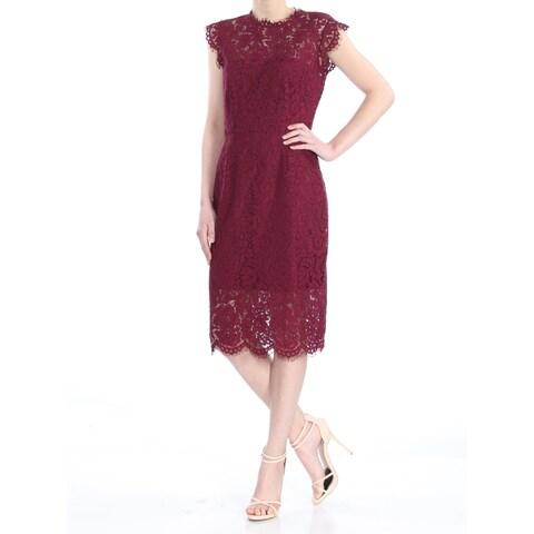 RACHEL ROY Womens Burgundy Lace Cap Sleeve Below The Knee Cocktail Dress Size: 2