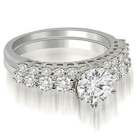 1.40 cttw. 14K White Gold Round Cut Diamond Bridal Set