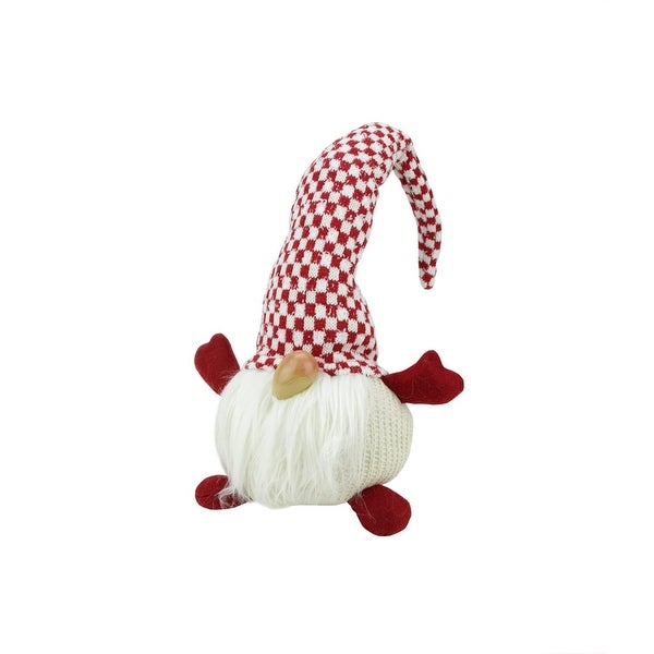 "12"" Red and White Checkered ""Alfred"" Sitting Chubby Santa Gnome Table Top Christmas Figure"