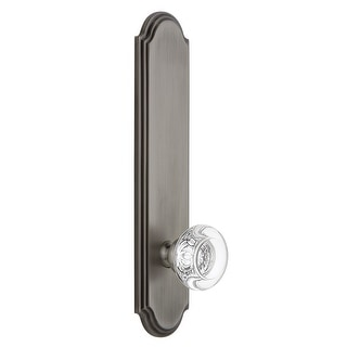Grandeur ARCBOR_TP_SD_NA  Arc Solid Brass Tall Plate Rose Single Dummy Door Knob with Bordeaux Crystal Knob