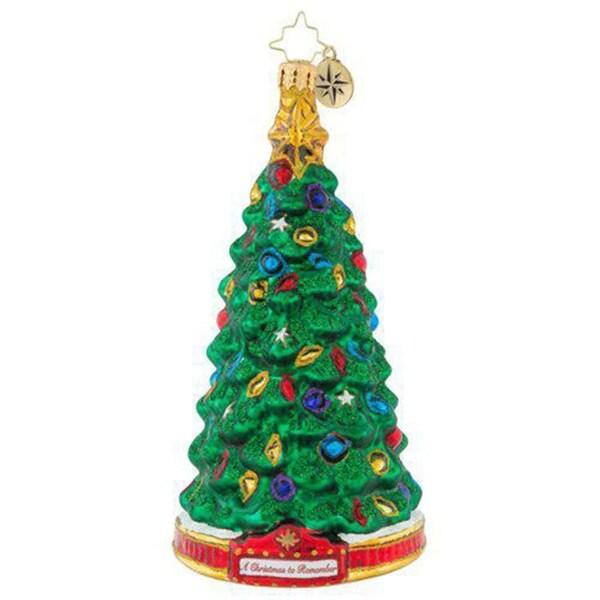 "7"" Christopher Radko ""Perfect Pine"" Glass Christmas Tree Ornament #1019594"