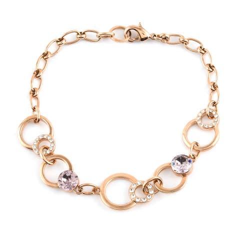 Alloy Rosetone Made with Swarovski Crystal Bracelet Size 8.5 Inch - Bracelet 8.5''