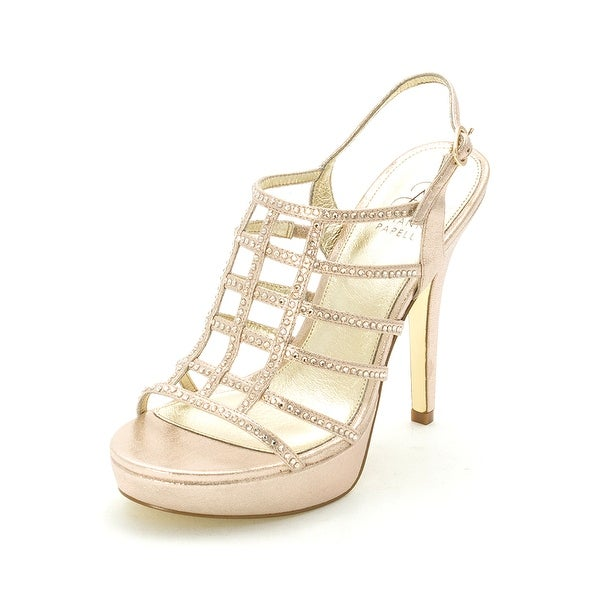 Adrianna Papell Womens MAYA Leather Open Toe Ankle Strap Platform Pumps
