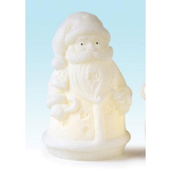 "7"" Winter Frost Battery Operted LED Flameless Glittered Santa Christmas Candle - WHITE"